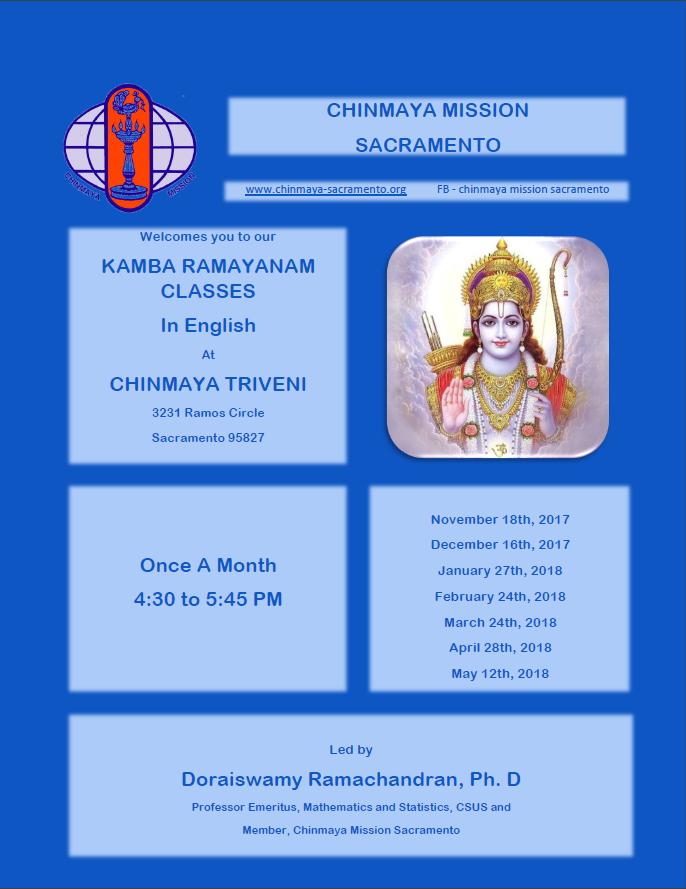 Monthly Kamba Ramayanam classes @ Chinmaya Triveni